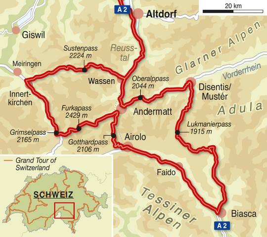Von Luzern aus startet die rund 300 km lange Rundtour über die bekanntesten Gipfel der Schweizer Alpen – ein Motorradfahrer-Traum.